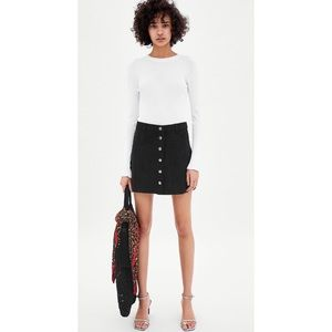 Zara TRF Faux Suede Button Mini Skirt Small NWT